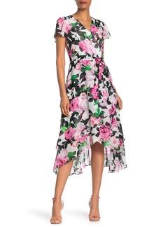 Betsey Johnson Floral Wrap Midi Dress