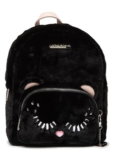 Betsey Johnson Fuzzy Faux Fur School Backpack