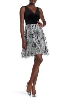 Betsey Johnson Glitter Velvet Polka Dot V-Neck Dress