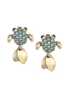 Betsey Johnson Gold and Blue Stone Fish Stud Earrings