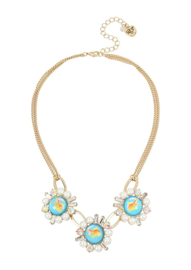 Betsey Johnson Goldfish & Imitation Pearl Necklace
