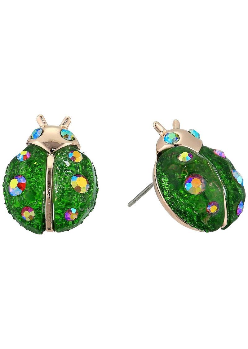 Betsey Johnson Green Eye Owl Stud Earrings
