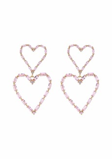 Betsey Johnson Heart Double Drop Earrings