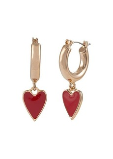 Betsey Johnson Heart Huggie Drop Earrings