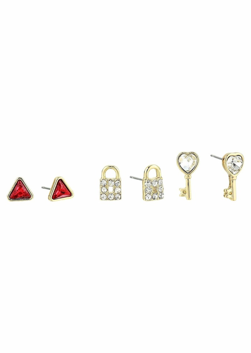 Betsey Johnson Heart Stud Earrings
