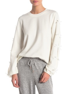 Betsey Johnson Knit Bow Sleeve Sweatshirt