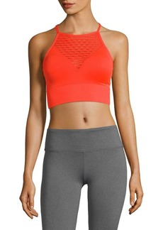 Betsey Johnson Knitted Laser-Cut Sports Bra