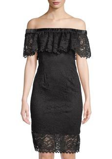 Betsey Johnson Lace Off-The-Shoulder Button-Back Dress