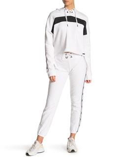 Betsey Johnson Lace-Up Side Stripe Fleece Sweatpants