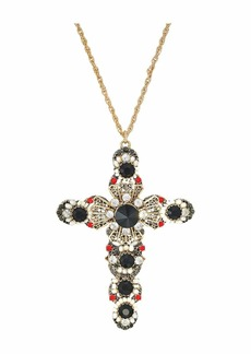 Betsey Johnson Large Cross Pendant Necklace