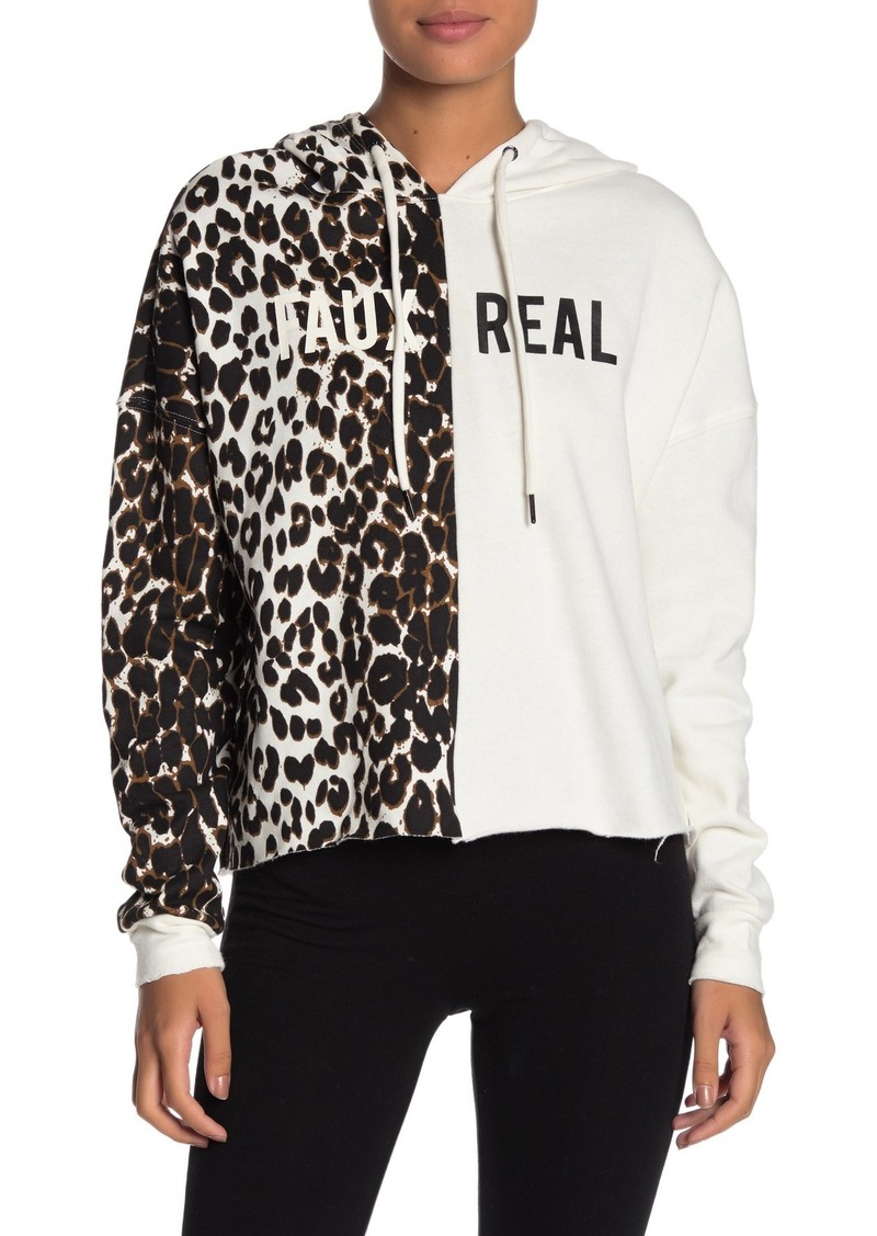 Betsey Johnson Leopard and Solid Knit Hoodie