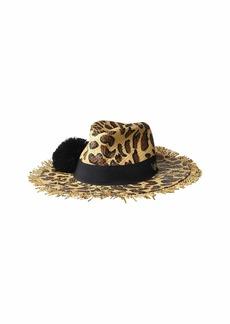 Betsey Johnson Leopard Print Panama Hat