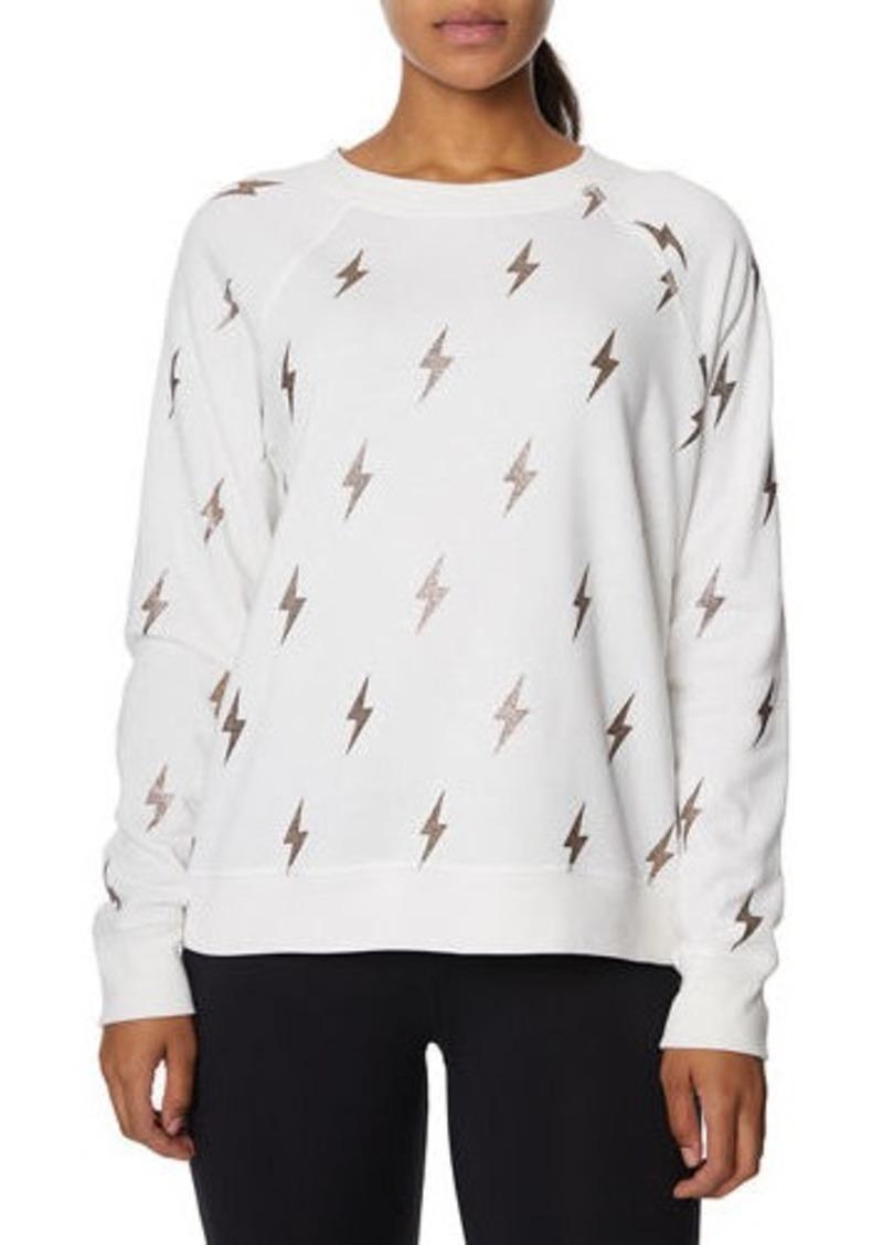 Betsey Johnson Lightning Bolt Glitter Print Sweatshirt