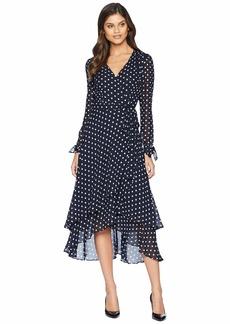 Betsey Johnson Long Sleeve Dot Wrap Dress