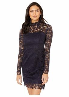 Betsey Johnson Long Sleeve Mock Neck Lace Dress