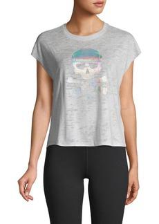 Betsey Johnson Metallic Skull Graphic Short T-Shirt