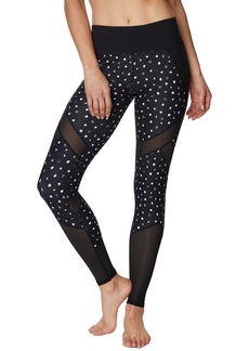 Betsey Johnson Mixed Media Patchwork Polka Dot w/ Mesh Ankle Leggings