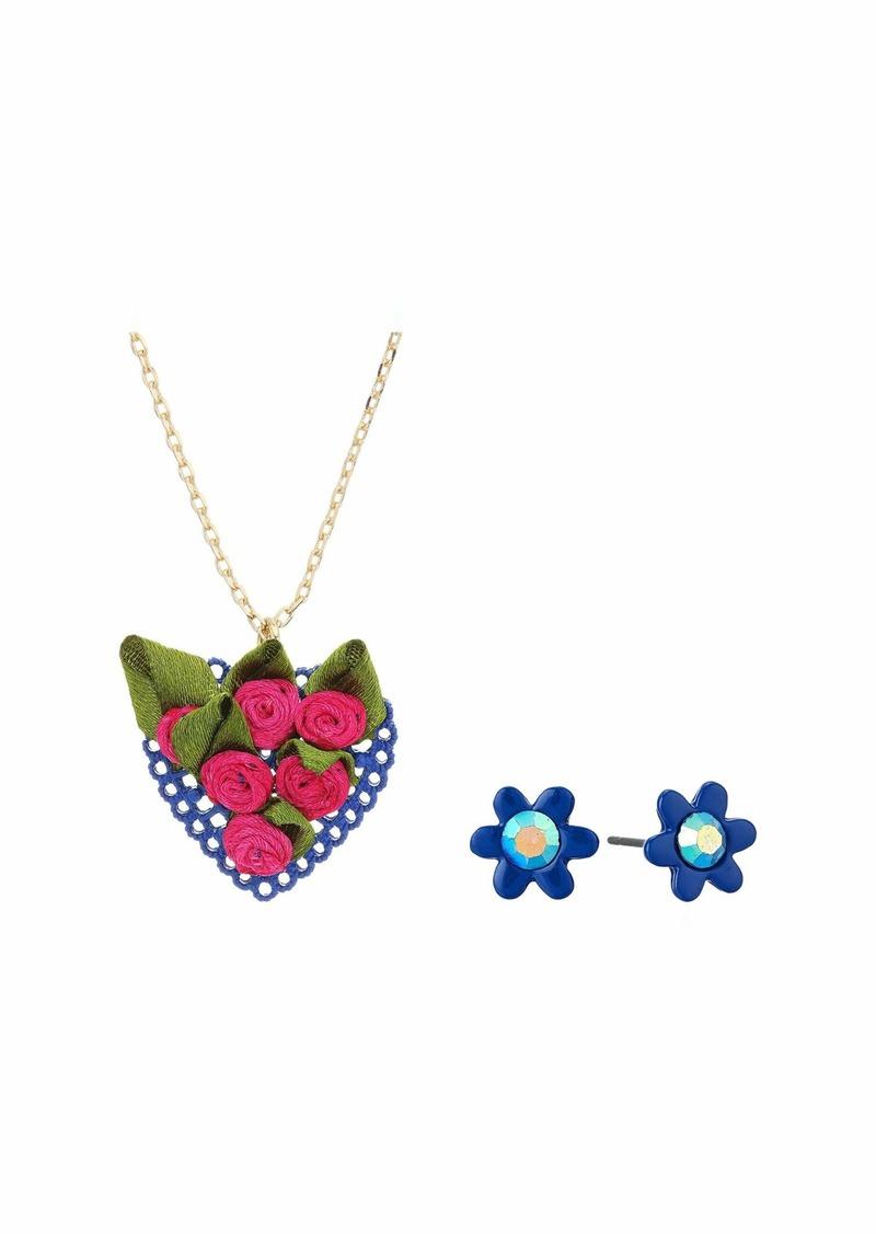 Betsey Johnson Necklace/Earrings Heart Set