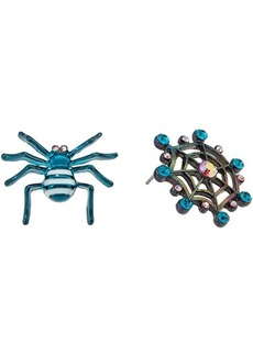 Betsey Johnson Non-Matching Spider Stud Earrings