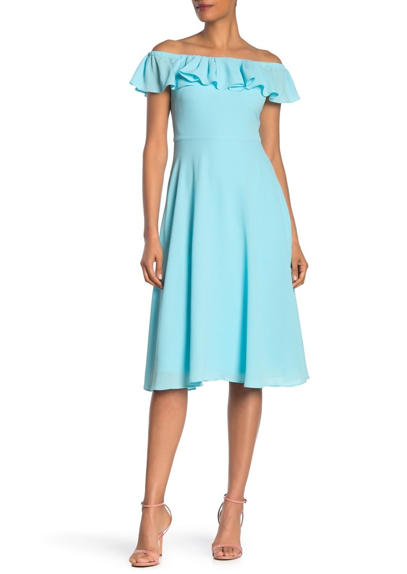 Betsey Johnson Off-the-Shoulder Pebble Crepe Dress