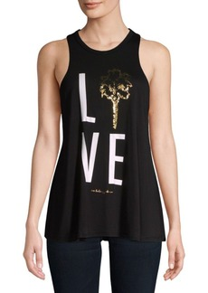 Betsey Johnson Palm Tree Lover Racerback Tank Top