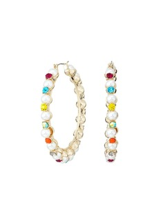 Pearl and Rhinestone Hoop Earrings