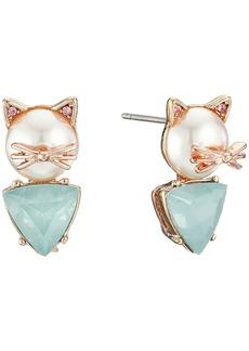 Betsey Johnson Pearl Critters Cat Stud Earrings