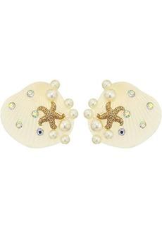 Betsey Johnson Pearl Shell Button Earrings