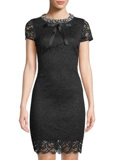 Betsey Johnson Pearly-Collar Lace Sheath Dress