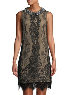 Betsey Johnson Pearly-Collar Lace Shift Dress