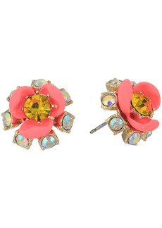 Pink and Gold Flower Stud Earrings
