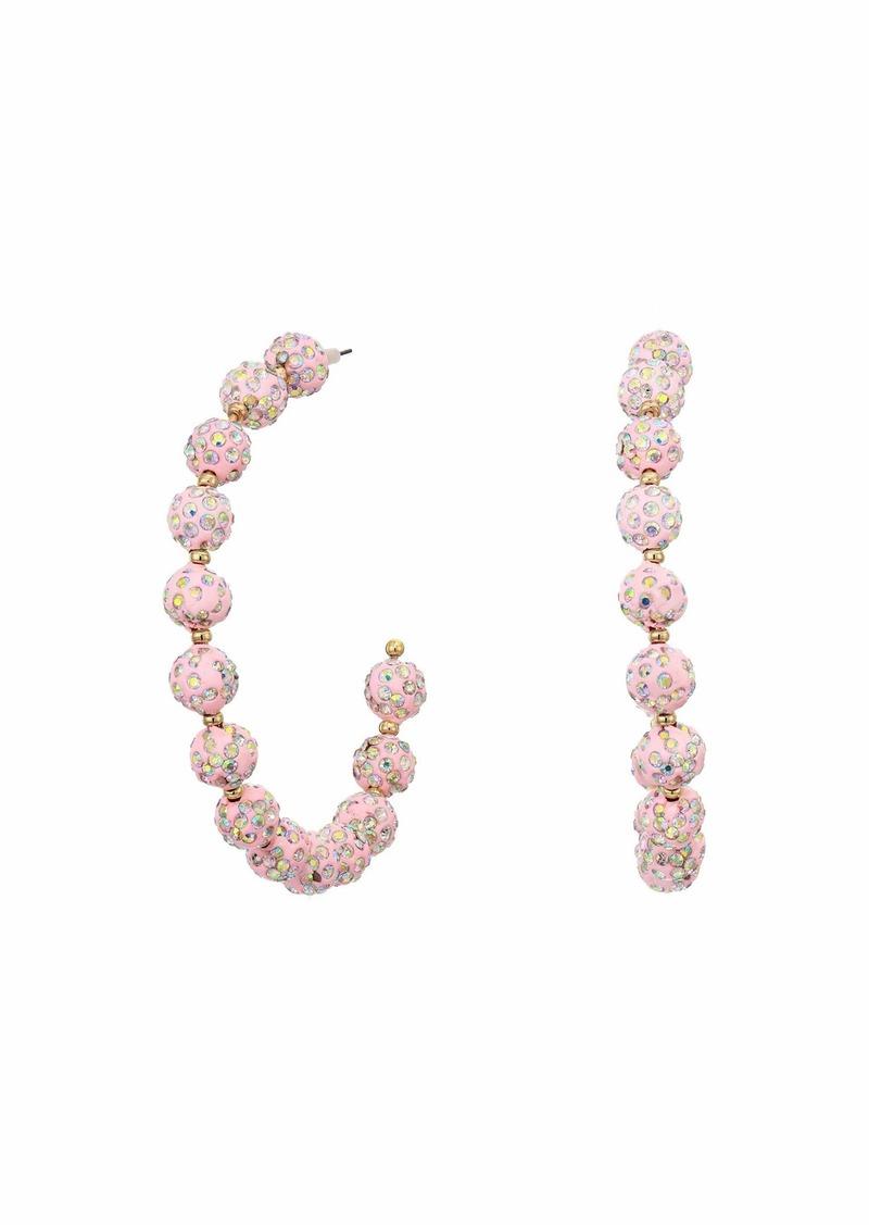Betsey Johnson Pink Fireball Hoop Earrings