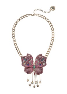 Pink Glitter Butterfly Pendant Necklace