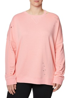 Betsey Johnson Plus Size Distressed Pullover