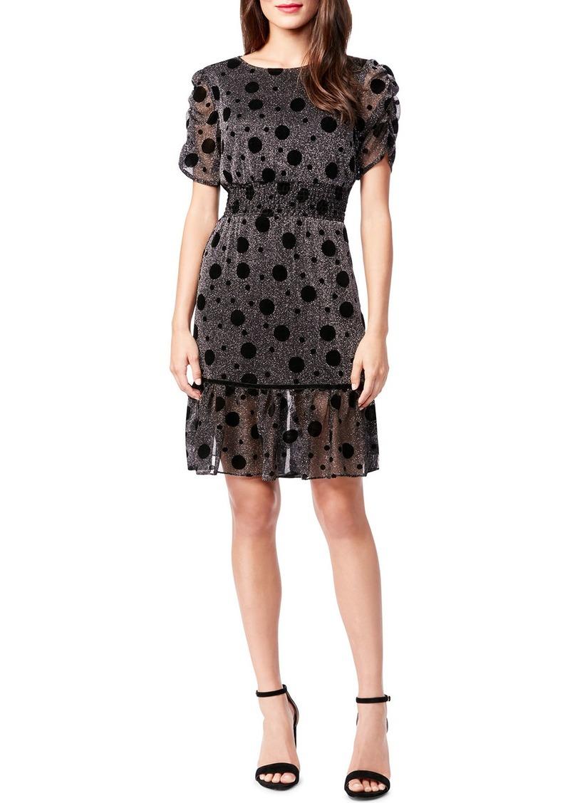 Betsey Johnson Polka Dot Metallic Fit-&-Flare Dress