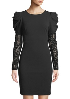 Betsey Johnson Puff-Shoulder Lace-Sleeve Dress