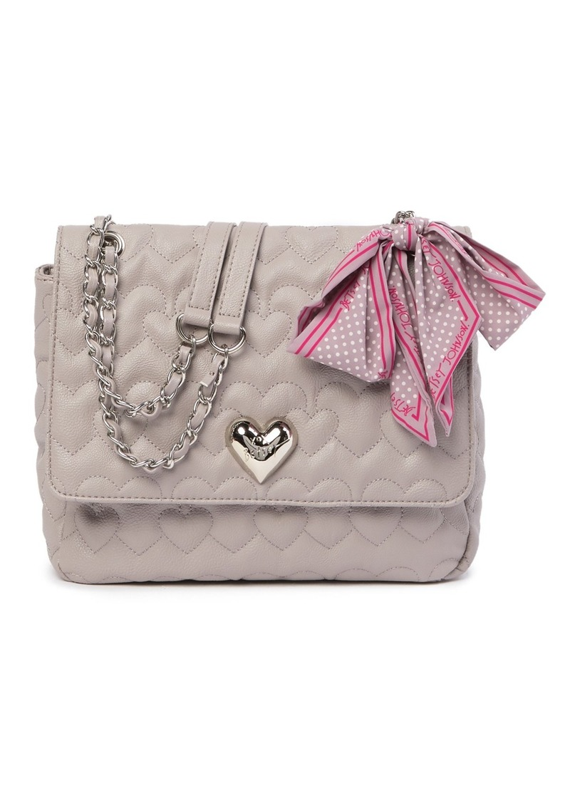 Betsey Johnson Quilted Heart Shoulder Bag with Scarf