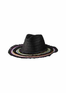 Betsey Johnson Rainbow Panama Hat w/ Frayed Edge