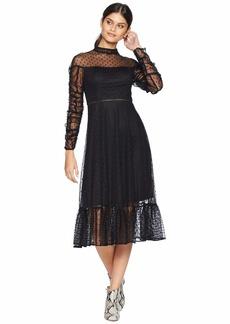 Betsey Johnson Ruched Sleeve Dot Dress