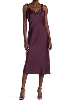 Betsey Johnson Ruffle Strap Satin Slip Dress