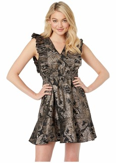 Betsey Johnson Ruffled Jacquard Party Dress