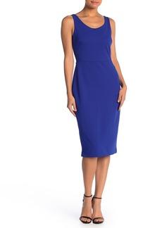 Betsey Johnson Scoop Neck Sleeveless Crepe Midi Dress