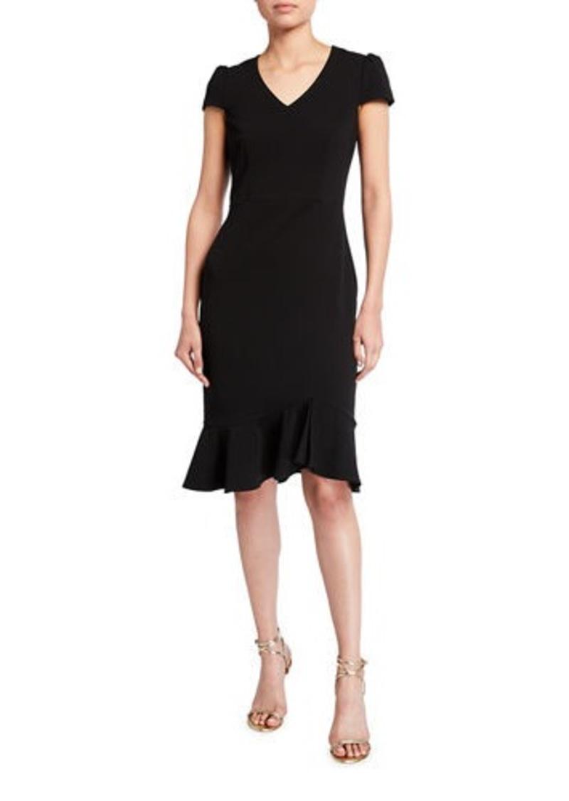 Betsey Johnson Scuba Crepe Cap-Sleeve Flounce Dress