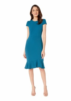 Betsey Johnson Scuba Crepe Dress w/ Flounce