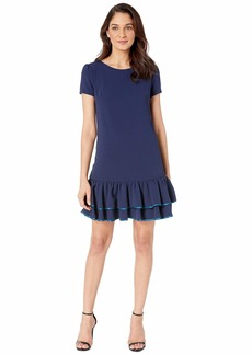 Betsey Johnson Scuba Crepe Dress with Double Ruffle Hem