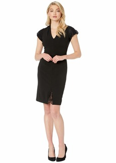 Betsey Johnson Scuba Crepe Dress with Lace Detail