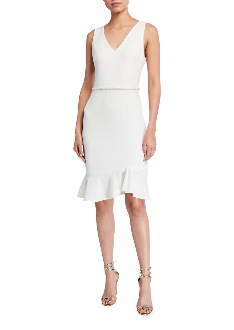 Betsey Johnson Scuba Crepe Dress With Pearl Trim