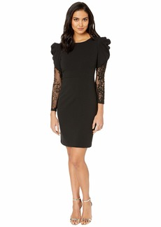 Betsey Johnson Scuba Crepe Dress with Structured Shoulders and Lace Sleeves