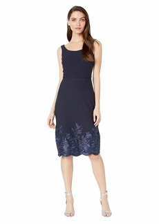 Betsey Johnson Scuba Crepe Midi Dress with Embroidery