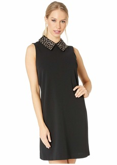 Betsey Johnson Scuba Crepe Shift Dress with Embellished Collar